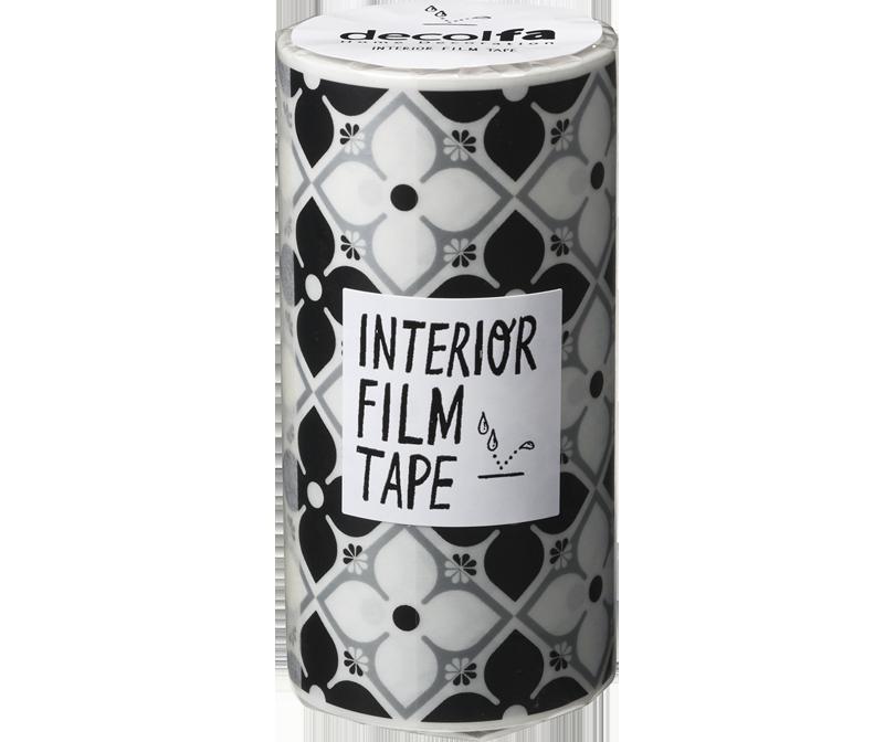 decolfa インテリア フィルムテープ100mm フラワー/ブラック