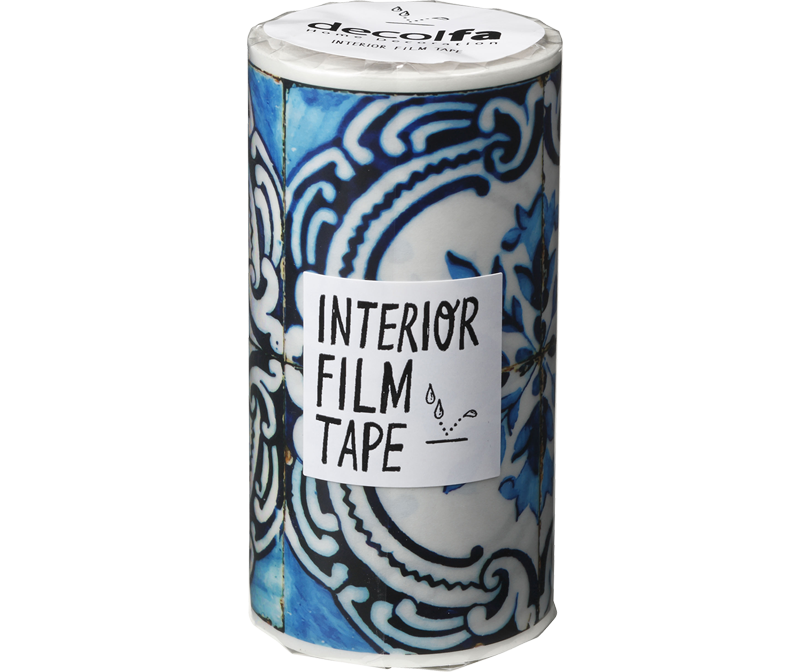 decolfa インテリア フィルムテープ100mm タイル/ブルーW
