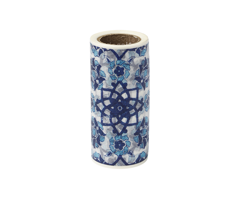 decolfa インテリアマスキングテープ100mm タイル/ブルー