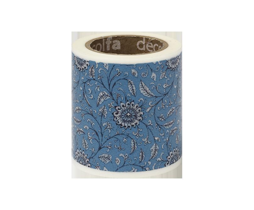 decolfa インテリアマスキングテープ50mm フラワー/ブルー
